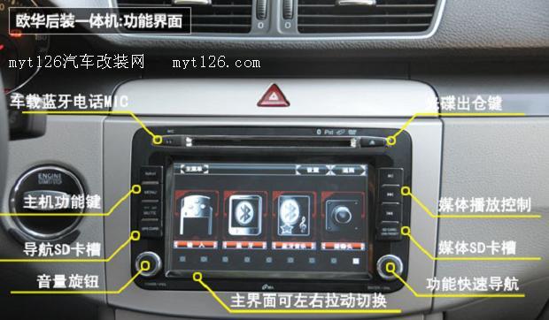 从三款迈腾后装一体机可以看出,其功能差异并不明显,无论是GPS导航、地图的使用,还是蓝牙、DVD播放等视频、音频的应用,都可以反映,现在后市场专车专用机也存在同质化的现象,尽管这些功能各个厂家都已经普及,但是对于差异化的传播,还需要加强。   先锋后装主机的共同点:拆卸原车主机    拆卸装饰面板其实并不麻烦,只是这件细活需要一点耐心。除开一些极为少见的车型会使用螺钉连接,90%的车型都会选用卡扣式连接(包括欧美车、德国车、日系车)。所以,安装一体式导航仪做到面板无损是理所当然的。      后装一体