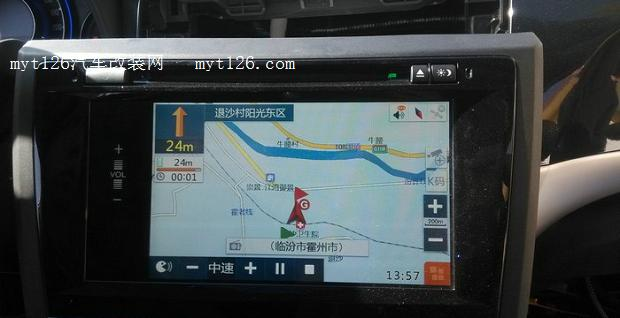 将螺丝拧紧,这是装好的图片  将电线接入买的电路板,很容易都是接插件而且不会接错  将电线从屏幕缝隙引出来,合上屏幕并拧紧螺丝  这是导航的盒子  这是另外一根买的线是接在屏幕后面的,是串在原车线里面的,很简单。按照安装说明书上连接上GPS盒子,都是1对1的插头,不会差错的,接好天线开机实验  开机正常,实验挺好的  10颗卫星,搜星挺快的,测试的时候一定要接天线,不然是没有信号的  原车界面  导航界面和原车很像,切换界面的时候只要按住方向盘上的三个电话按件中任意一个三秒就能切换,还是比较方便的  由于